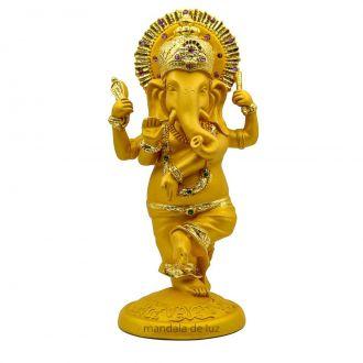 Estátua Ganesha em Pé Dançando Resina Dourado e Amarelo 21cm