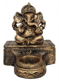Ganesha na Base com Castiçal Dourado Resina 13,5cm