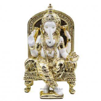 Ganesha Poltrona Branco e Dourado 23cm - Peça única Frete Grátis