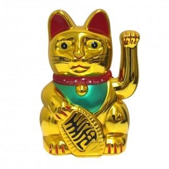 Gato da Sorte Maneki Neko Dourado Movimenta a Mão 15cm