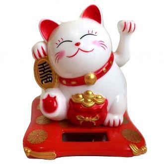 Gato da Sorte - Maneki Neko Solar Branco Movimenta a mão