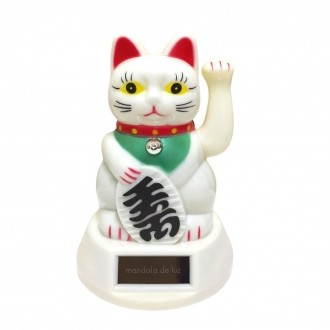 Gato da Sorte Maneki Neko Solar Branco Movimenta a Mão 12cm