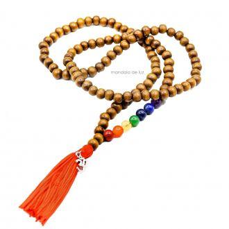 Japamala 108 Contas Madeira com Cristais dos Chakras e OM