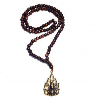 Japamala de 108 Contas de Madeira Ganesha