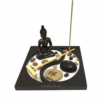 Jardim Zen Yin Yang com Buda, Pedras e Incensos 15cm