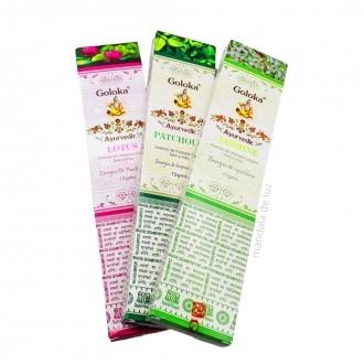 Kit 3 Incensos Indianos Goloka Lotus, Patchouli e Jasmine