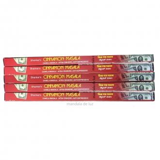 Kit 5 Caixas de Incensos Cinnamon Masala Shankar - Canela 40 varetas