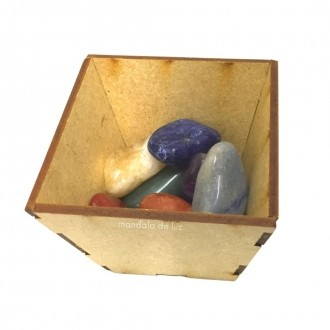 Kit 7 Pedras Chakras  + Cachepot Recipiente Guardar Cristais MDF 5cm