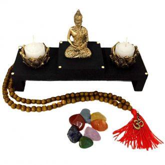 Kit Altar de Buda + Castiçais + Japamala + Kit dos Chakras