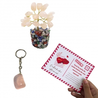 Kit Chaveiro e Árvore de Quartzo Rosa + Cartão Postal do Amor