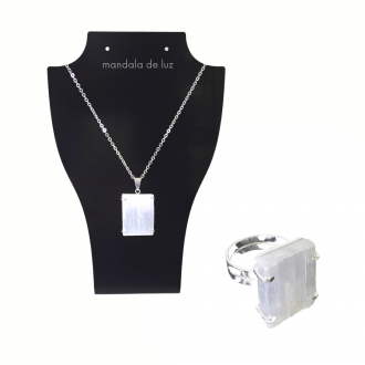 Kit Conjunto Colar e Anel Folheado Prata de Pedra Selenita Cristal Natural
