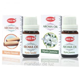 Kit de 2 Essências HEM Mystic Sândalo e Jasmim Oil 10ml