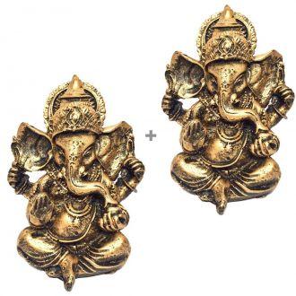 Kit de 2 Estátuas de Ganesha Dourado Pequeno Resina 9,5cm
