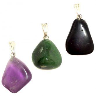 Kit de 3 Pingentes Ametista, Quartzo Verde e Turmalina Negra - Atacado