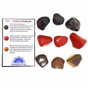 Kit de 9 Pedras Proteção - Olho de Tigre, Ônix e Jaspe Vermelho