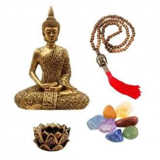 Kit de Estátua de Buda Hindu + Castiçal + Japamala + Kit de 7 pedras