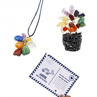 Kit de Colar e Árvore de Pedras dos 7 Chakras  + Cartão Postal do Amor