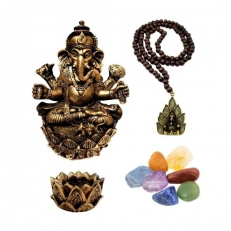 Kit de Estátua Ganesha + Castiçal + Japamala + Kit de 7 pedras