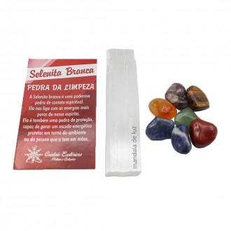 Kit de Selenita com 7 Pedras dos Chakras Naturais