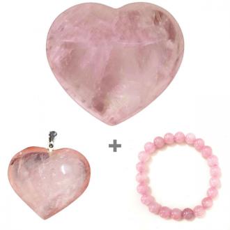 Kit do Amor Coração + Pingente + Pulseira de Quartzo Rosa