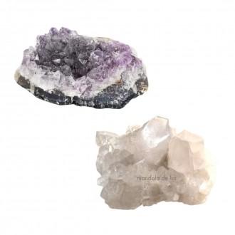 Kit Drusas de Ametista e Cristal Quartzo Transparente