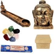 Kit Estátua Buda + Incensário + Nag Champa + 7 Pedras + Caixa MDF