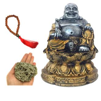 Kit Estátua Buda Riqueza Flor de Lótus + Pulseira de Japamala + Pedra Pirita