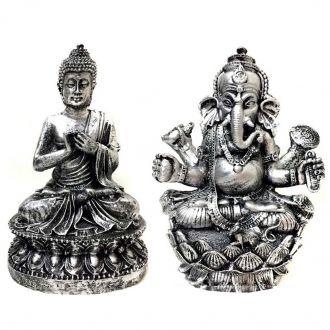 Kit Estátua de Buda + Ganesha Flor de Lotus Prateado 15cm