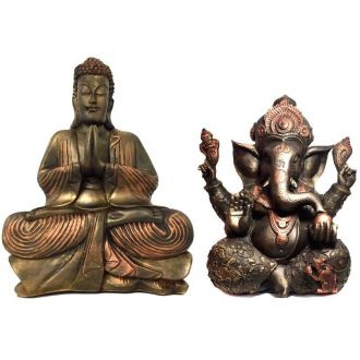 Kit Estátua de Ganesha Grande + Buda Hindu Grande Resina Cor Bronze