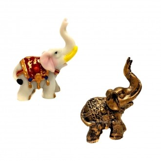 Kit 2 Estátuas de Mini Elefante Indiano Resina 8cm