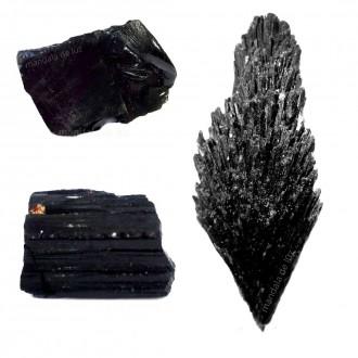 Kit Obsidiana + Turmalina Negra + Cianita Negra