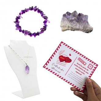 Kit Pedra Bruta, Pulseira e Colar Folheado a Prata de Ametista + Cartão Postal do Amor