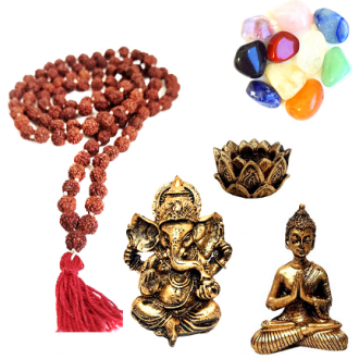 Kit Zen Japamala de Rudraksha + 10 Pedras Mistas+ Ganesha + Buda + Castiçal