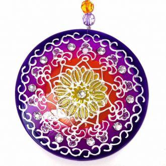 Mandala de Vidro Azul Vermelha Prosperidade 10cm
