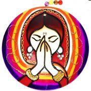 Mandala de Vidro Namastê 10cm