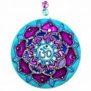 Mandala de Vidro OM Lilás e Azul  10cm