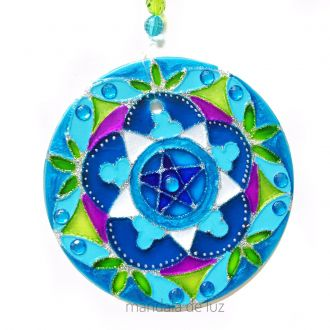 Mandala de Vidro Pentagrama Azul e Verde 10cm