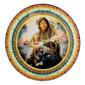 Mandala de Xamã Xamânico Parede Vidro 30cm