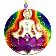 Mandala em Vidro Flor de Lotus Chakras Meditação 10cm