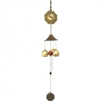 Mobile Sino dos Ventos Yin Yang Metal Dourado 46cm