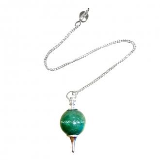 Pêndulo Cristal de Quartzo Verde Pião Redondo Banhado a Prata