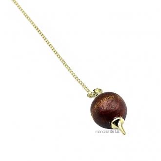 Pêndulo de Madeira Pião Redondo Banhado a Ouro