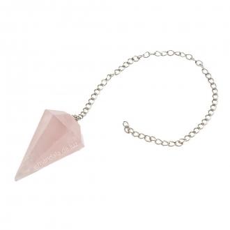 Pêndulo de Quartzo Rosa Pedra Natural Cristal do Amor