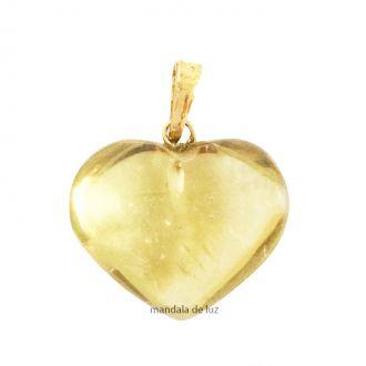 Pingente de Citrino 100% Natural Verdadeiro Dourado Coração