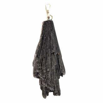 Pingente de Pedra Cianita Negra / Vassoura de Bruxa