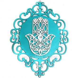Placa Rendada Mão de Hamsá Fátima Verde Tiffany