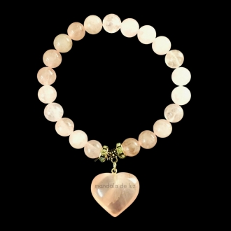 Pulseira de Esferas de Quartzo Rosa com Berloque de Coração e Strass