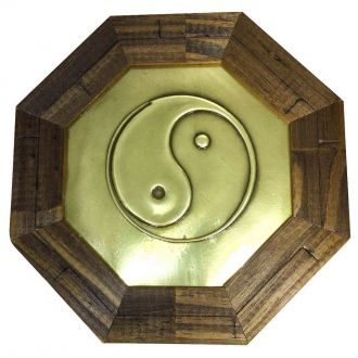 Quadro Baguá de Madeira Yin Yang 18,5cm