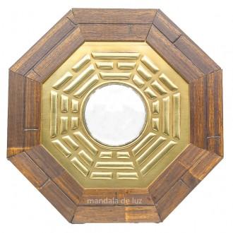 Quadro Baguá Madeira Espelho Convexo Céu Posterior 18,5cm
