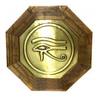 Quadro de Madeira Dourado Olho Horus 18cm